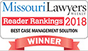 Picture of text for the Missouri Lawyers Weekly Reader Rankings 2018 Award with a big red winner ribbon                 below it.